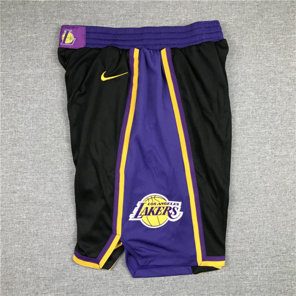 Los Angeles Lakers 2021 Earned Edition Black Shorts side 1