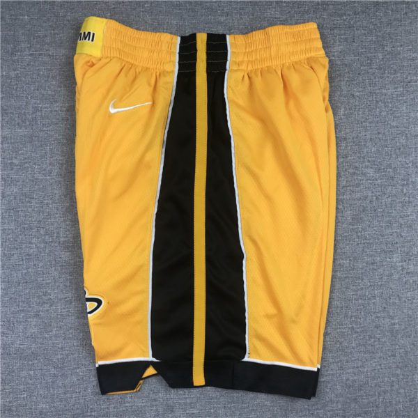 Miami Heat 2020-21 Yellow Earned Edition Shorts side 1